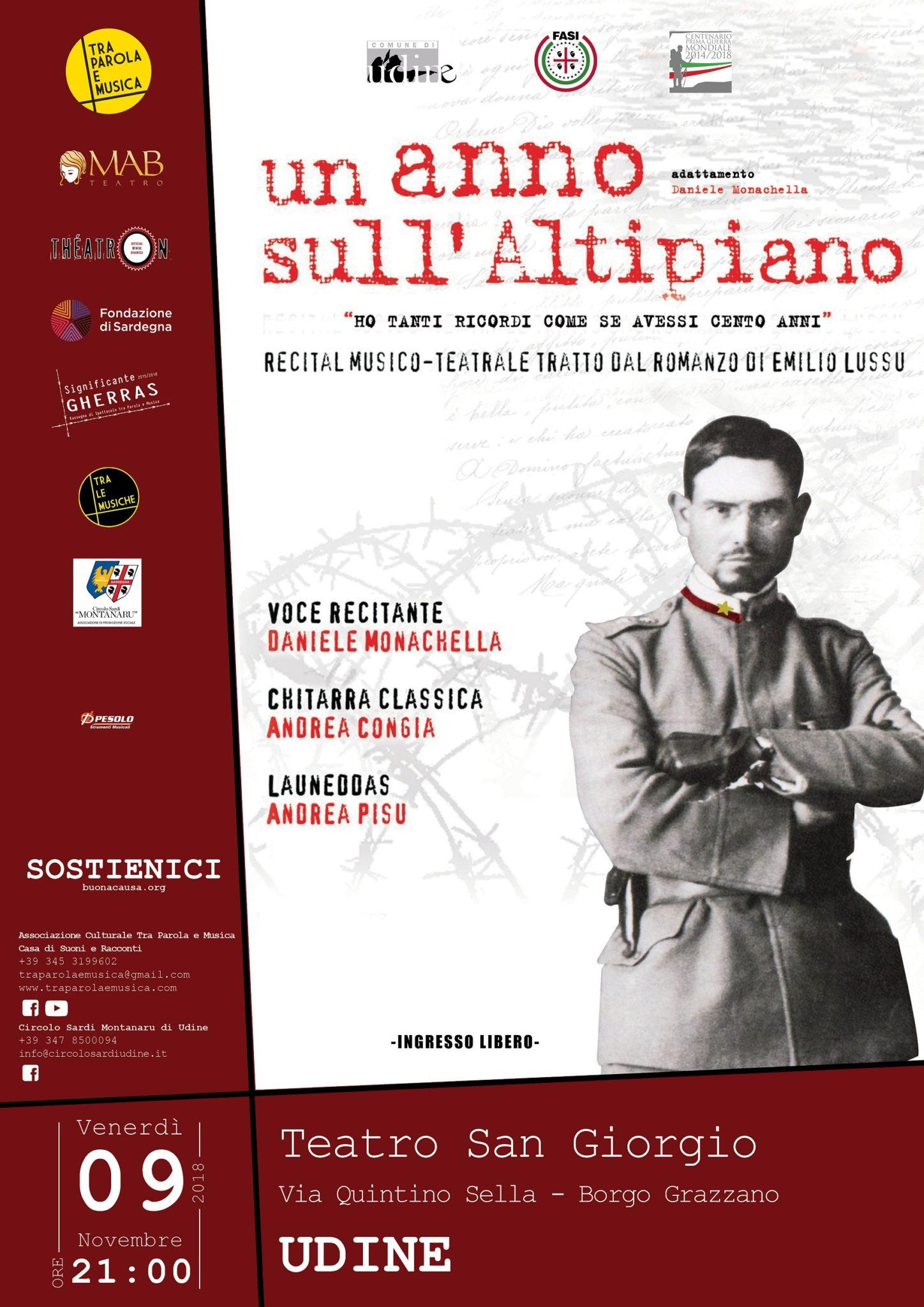 2018 11 09 UDINE ANNOALTIPIANO LOCANDINA Udine: il ricordo dei Sardi nella Grande Guerra