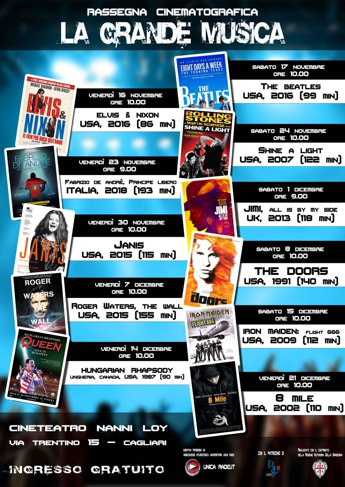 Locandina Rassegna La grande musica al Cine-teatro Nanni Loy