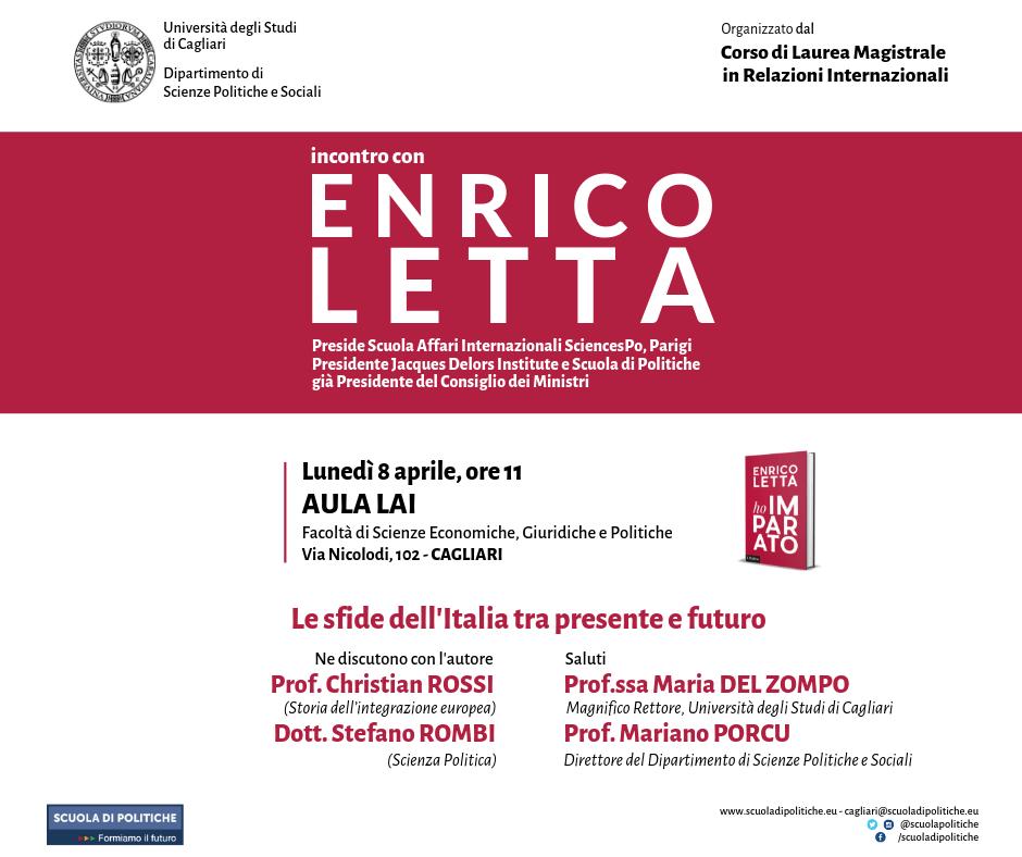 """Locandina Cagliari Enrico Letta arriva in Sardegna per presentare """"Ho Imparato"""""""