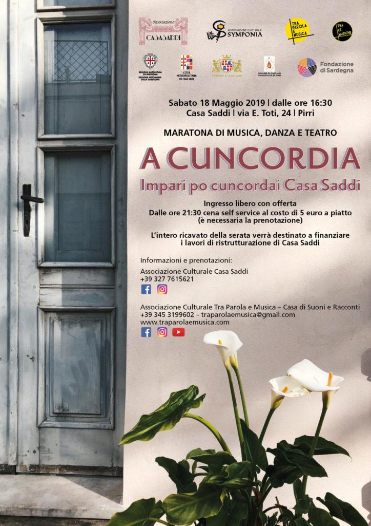 """2019 05 18 CAGLIARI ACUNCORDIA LOCANDINA Artisti insieme per Casa Saddi per """"Tra Parola e Musica"""""""