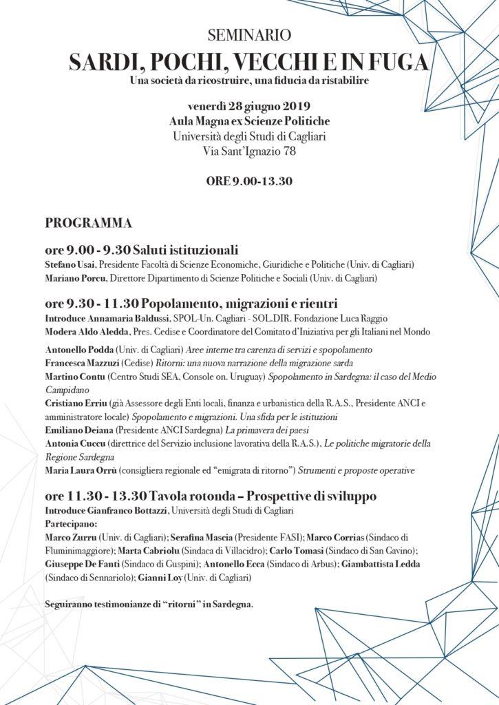 Seminario 28 giugno locandina e programma page 0002 Fuga di cervelli e ritorni in Sardegna, seminario a Cagliari