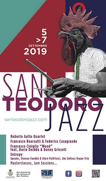 Locandina San Teodoro Jazz Festival 2019 Il quartetto di Roberto Gatto al San Teodoro Jazz