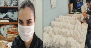 Una ragazza e un ragazzo che realizzano mascherine