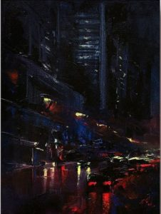 Patrick J. Signorelli Night trip byke olio su tela cm 54x 69 1 31 luglio al Museo Magmma le opere finaliste del Premio Marchionni