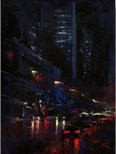 Patrick J. Signorelli Night trip byke olio su tela cm 54x 69 I vincitori del Premio d'arte Marchionni