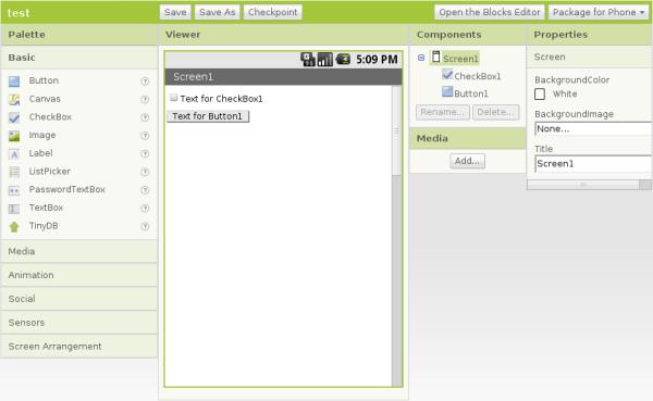Interficie App Inventor A scuola di programmazione