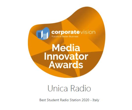 """image 1 Unica Radio premio """"Miglior Radio Studentesca italiana del 2020"""""""