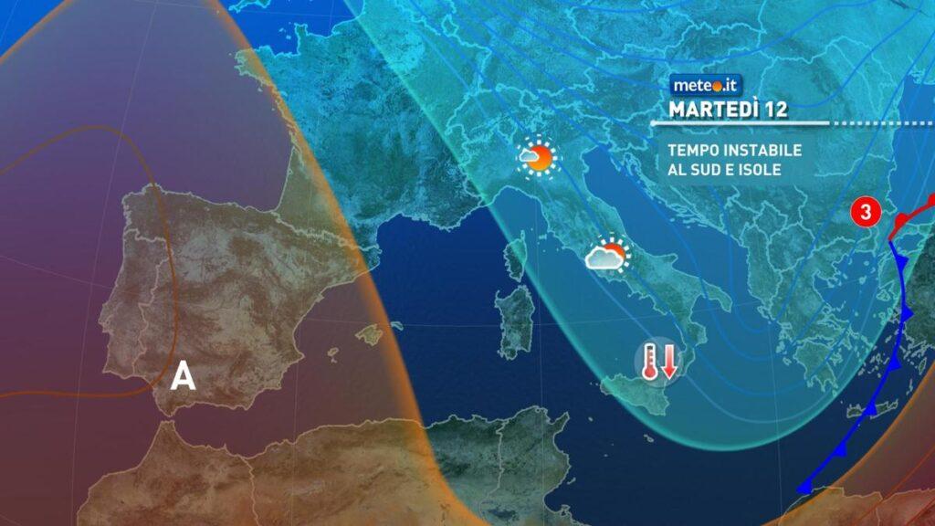 Situazione in europa per martedì, piogge al centro-sud